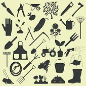 Garden work icon set. Working tools.