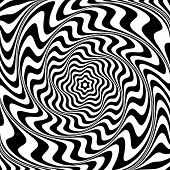Illusion of  whirlpool movement. Abstract op art illustration. Vector art.