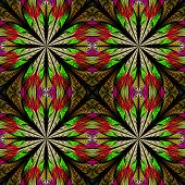 Symmetrical Pattern In Stained-glass Window Style. Red And Green Palette. Computer Generated Graphic