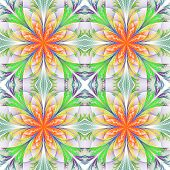 Beautiful Pattern From Fractal Flowers. Orange, Green And Gray Palette. Collection - Frosty Pattern.