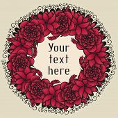 Round floral wreath like bouquet of red flowers in tattoo style