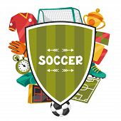 Sports background with soccer football symbols.