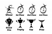 picture of medal  - Sports logos with medals and various kinds of cups - JPG