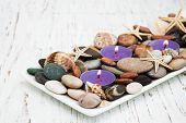 Candles With Sea Pebbles, Starfish And Sea Shells