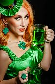image of leprechaun hat  - Red hair girl in Saint Patrick - JPG