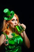 picture of leprechaun hat  - Red hair girl in Saint Patrick - JPG