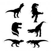 picture of animal silhouette  - Tyrannosaurus set of black silhouettes - JPG