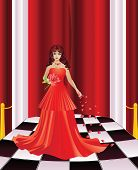 stock photo of curtains stage  - Woman on a stage with checkered floor and red curtain - JPG