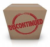 Постер, плакат: Discontinued word stamped on a cardboard box to illustrate a cancelled product that is out of stock