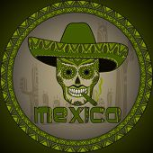 pic of sombrero  - Traditional mexican scull with sombrero - JPG