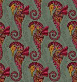 picture of seahorse  - Seamless pattern of decorative ornamental floral seahorses - JPG