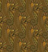 pic of seahorse  - Seamless pattern of decorative ornamental floral seahorses - JPG