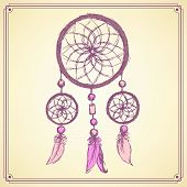 pic of dream-catcher  - Sketch dream catcher in vintage style vector - JPG