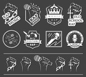 picture of battle  - Set of vector badges and stickers Hip Hop and Rap music - JPG