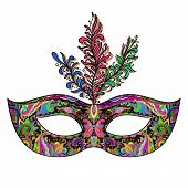 pic of venetian carnival  - Vector ornate floral Venetian carnival mask with feathers - JPG