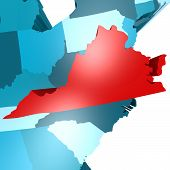 stock photo of usa map  - Virginia map on blue USA map image with hi - JPG
