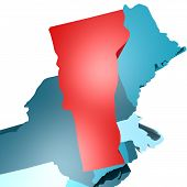 picture of usa map  - Vermont map on blue USA map image with hi - JPG