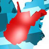 stock photo of virginia  - West Virginia map on blue USA map image with hi - JPG