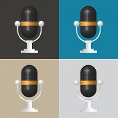foto of microphone  - 3D Microphone icon classic microphone symbol on color background - JPG