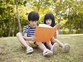 foto of japan girl  - little asian boy and girl sitting on grass reading a book together outdoors in a park - JPG