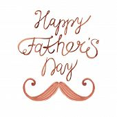picture of mustache  - Watercolor card with mustache and text Happy Father - JPG