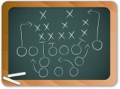 Teamwork Football Game Plan Strategy On Blackboard