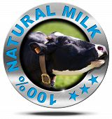 image of cow head  - Metallic round icon or symbol with head of cow and text 100  - JPG