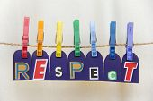 pic of respect  - Seven clothespins with LGBT rainbow colors and hanging from them the letters of the word  - JPG