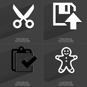 stock photo of tasks  - Scissors Floppy disk upload icon Task completed icon Gingerbread man - JPG