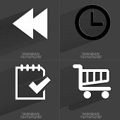 foto of tasks  - Two arrows media icon Clock Task completed icon Shopping Cart - JPG