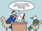 stock photo of saying sorry  - A finance company rep has bad news to tell a bird customer and says - JPG