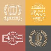 pic of brew  - Vector craft beer and brewery logos and labels in linear style  - JPG