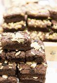 image of brownie  - Stack of freshly baked mocha brownie with chocolate chips - JPG