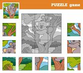 foto of koala  - Puzzle Game for children with animals  - JPG