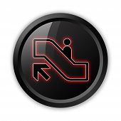 image of escalator  - Icon Button Pictogram with Escalator Up symbol - JPG