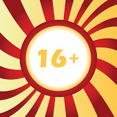 stock photo of restriction  - Yellow icon with 16 plus age restriction - JPG