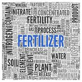 foto of fertilizer  - Close up FERTILIZER Text at the Center of Word Tag Cloud on White Background - JPG