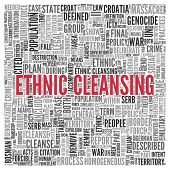 picture of cleanse  - Close up ETHNIC CLEANSING Text at the Center of Word Tag Cloud on White Background - JPG
