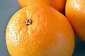 stock photo of valencia-orange  - Valencia oranges in a blue bowl extreme closeup - JPG