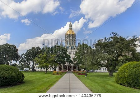 The Connecticut State Capitol building houses the Connecticut General Assembly; the upper house, the