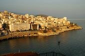 View Over The Town Of Kavala, Greece, At Sunset poster