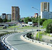 Asphalt road in city
