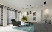 Modern white luxury living room with window blinds on a row of large windows, comfortable grey sofa  poster