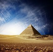 Grate pyramids in Giza valley. Egypt