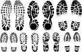 Vector illustration of various shoe print traces