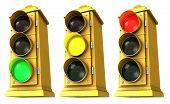 Três vintage centro semáforo em fundo branco, mostrando o verde, amarelo & vermelho.