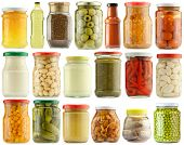 Preserved vegetables and food ingredients set