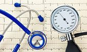 Monitor de pressão arterial, estetoscópio e curva EKG
