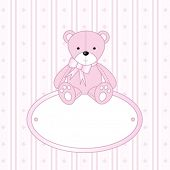 Teddy bear for baby girl - baby arrival announcement