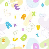 picture of verbs  - Seamless alphabet pattern - JPG